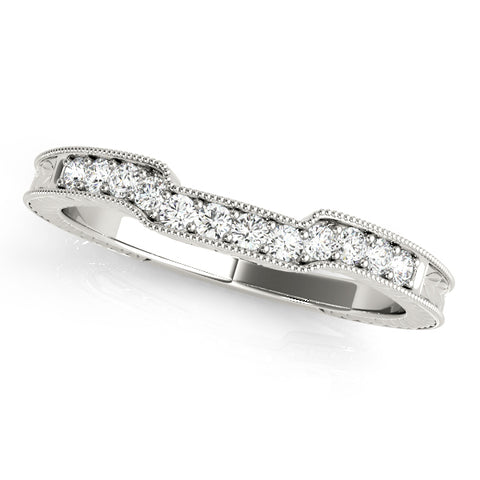 white gold vintage inspired curved diamond wedding band