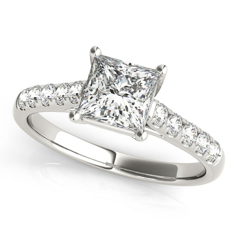 platinum single row diamond wedding band with a princess cut diamond