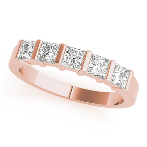 rose gold 5-stone bar set princess cut diamond wedding band