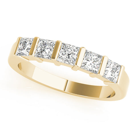 yellow gold 5-stone bar set princess cut diamond wedding band