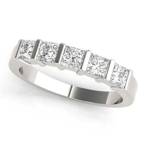 white gold 5 stone princess cut bar set diamond eternity band