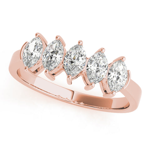 rose gold 5-stone marquise diamond wedding band