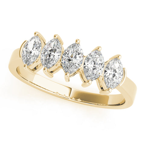 yellow gold 5 stone marquise diamond wedding band