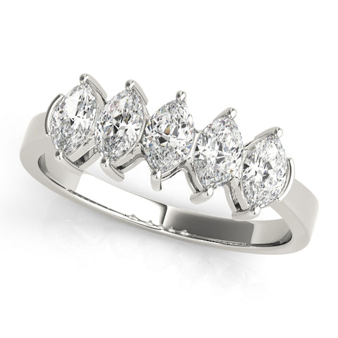 white gold 5-stone marquise diamond wedding band