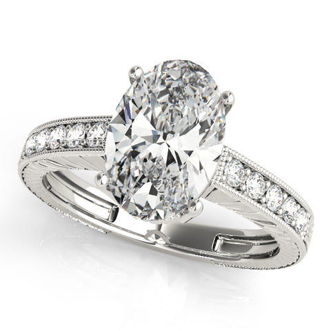 white gold vintage-inspired diamond engagement ring for oval diamond