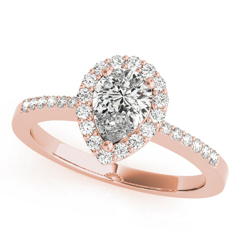rose gold pear shaped diamond halo engagement ring