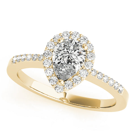 yellow gold pear shaped diamond halo engagement ring