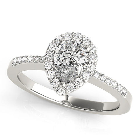 white gold pear shaped diamond halo engagement ring