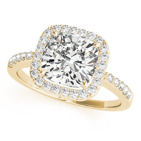 yellow gold cushion cut halo engagement ring