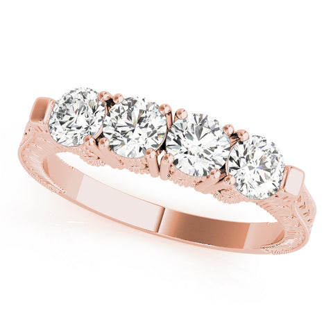 rose gold 4-stone diamond wedding band