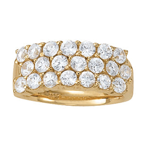 yellow gold traditional three-row diamond ring