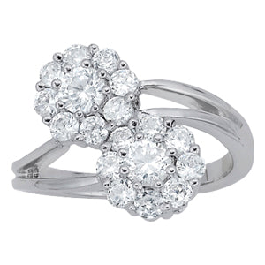white gold diamond cluster flower ring