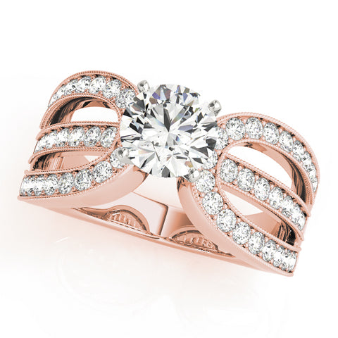 rose gold triple row vintage-inspired diamond engagement ring