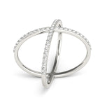 white gold diamond x ring