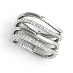 white gold multi row diamond fashion ring