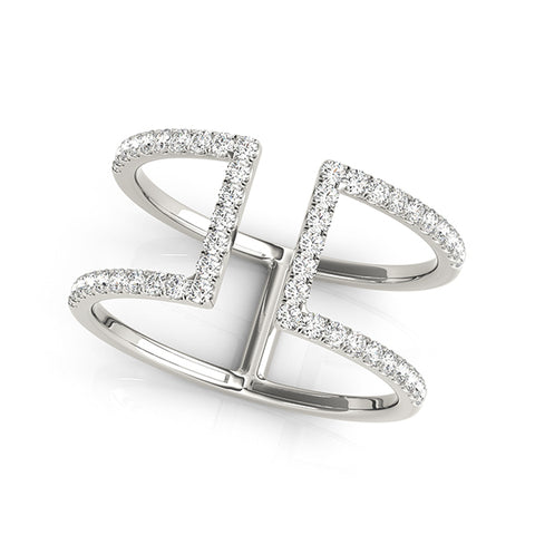 white gold squared open concept diamond ring