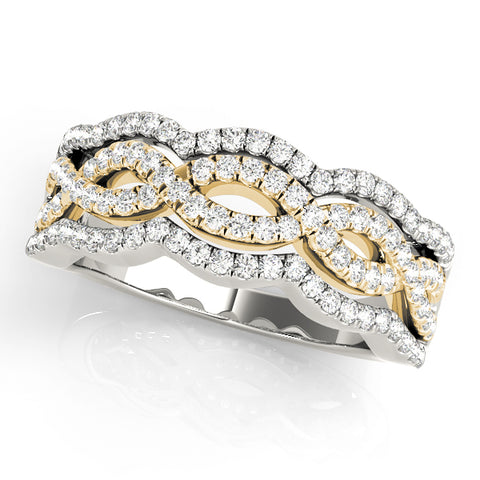 white gold and yellow gold wavy fashion diamond wedding band