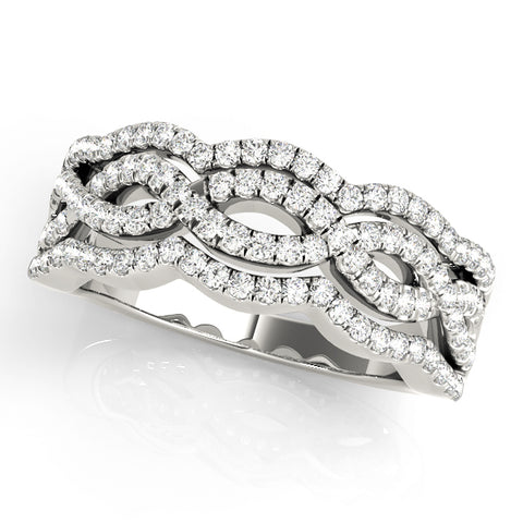white gold multi row fashion diamond wedding band