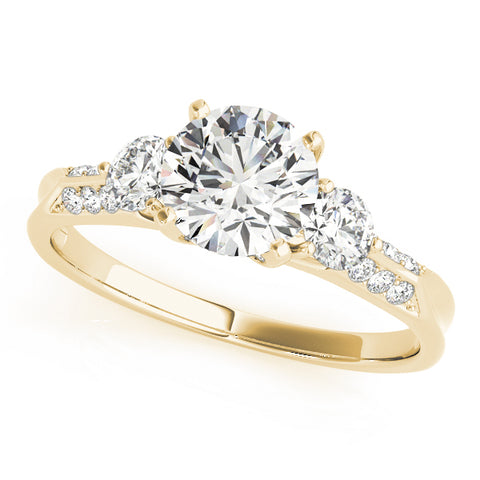yellow gold three stone diamond accented engagement ring