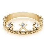 yellow gold diamond crown ring