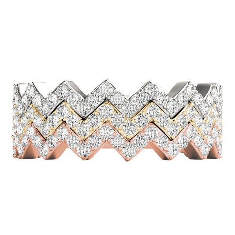 white gold yellow gold rose gold diamond zigzag stackable rings