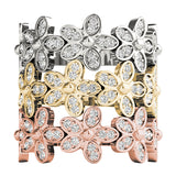white gold yellow gold rose gold diamond flower stackable rings