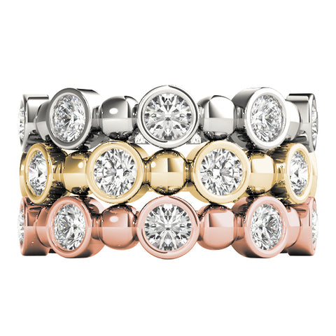 white gold yellow gold and rose gold stackable diamond rings