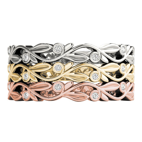 floral diamond stackable rings