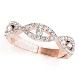 rose gold crossover diamond stackable ring