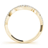 yellow gold crossover diamond stackable ring