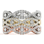 white gold yellow gold and rose gold crossover diamond stackable rings