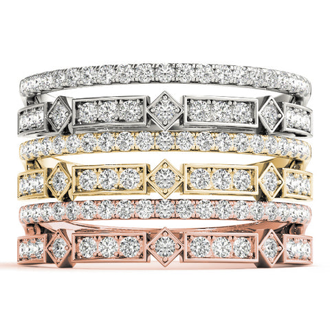white gold yellow gold and rose gold double row diamond stackable rings