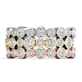 white gold yellow gold and rose gold diamond stackable rings