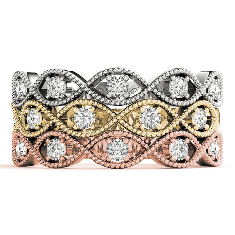 white gold yellow gold and rose gold crossover milgrain diamond stackable rings