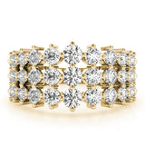 yellow gold graduated three row diamond ring