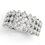 white gold graduated three row diamond ring