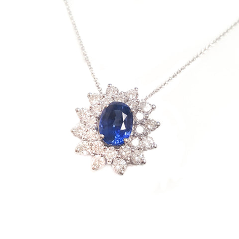 platinum tanzanite and diamond pendant necklace