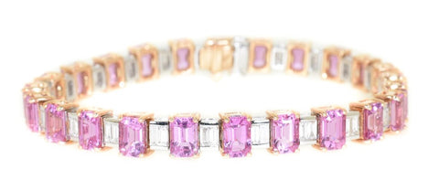 two tone pink sapphire and diamond tennis bracelet
