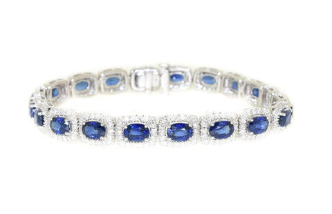 white gold blue sapphire and diamond tennis bracelet