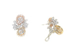 white gold yellow gold and rose gold diamond fashion earrings