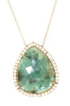 yellow gold emerald slice and white sapphire pendant