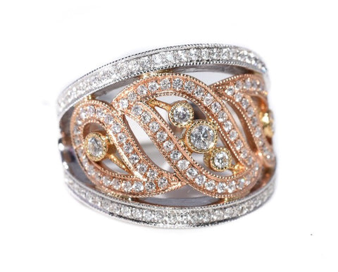 18kt tri color vintage style diamond swirl ring with yellow gold, white gold, rose gold