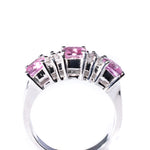 14kt white gold pink sapphire and diamond ring