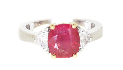 two tone ruby and diamond ring