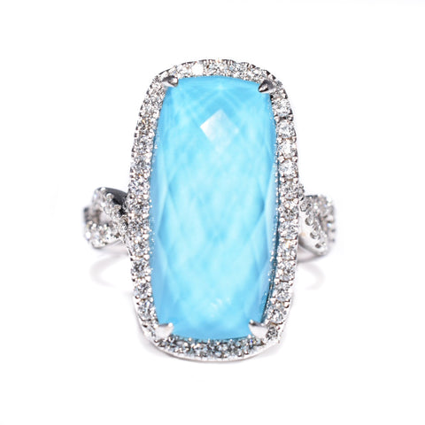 14kt white gold turquoise and diamond ring, diamond halo, twisted shank