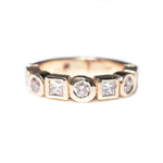 14kt yellow gold bezel-set diamond ring, alternating princess cut diamonds and round brilliant diamonds