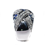 18kt white gold blue sapphire and diamond floral ring