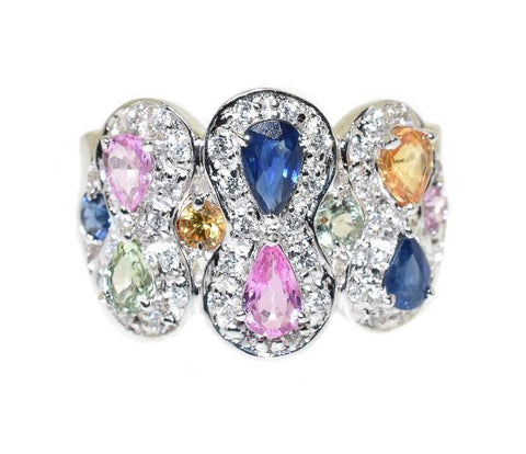 14kt white gold fashion ring with diamonds, pink sapphires, yellow sapphires, blue sapphires, green sapphires