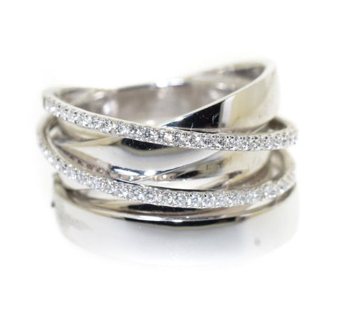 18kt white gold overlap ring with two rows of diamonds