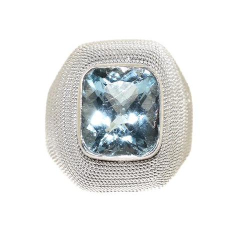18kt beaded white gold aquamarine ring